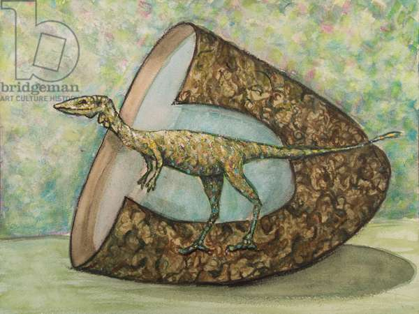 Coelophysis (Late Triassic), 2017 (mixed media on paper)