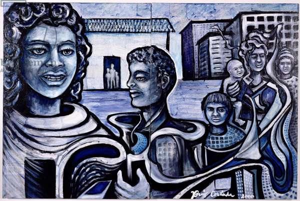 PATH (Public Art Transforming Housing) Millennium Mural, 2000 (mixed media on canvas)