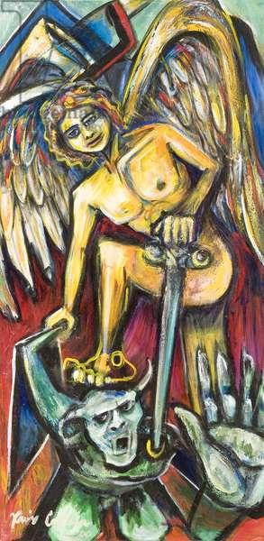 Estampita de San Miguel Arcangel, 2000 (acrylic on canvas)