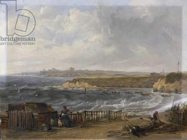 Cullercoats looking towards Tynemouth - Flood tide, 1845 (oil on millboard)