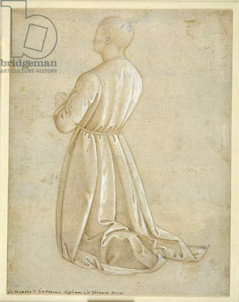 Man kneeling in prayer, seen from the back (metalpoint with gouache on paper)