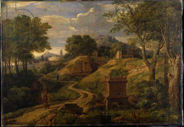 Classical landscape with a woman carrying a child, c.1650-75 (oil on canvas)