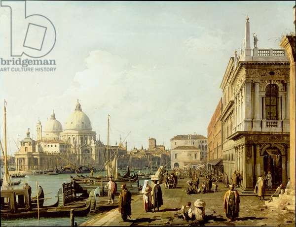 Venice: a view of Santa Maria della Salute and the Grand Canal from the Piazzetta (oil on copper)