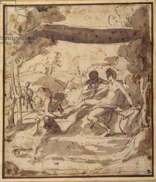 Venus, reclining under a rustic canopy, with Adonis fastening her sandal (pen & ink with wash on paper)