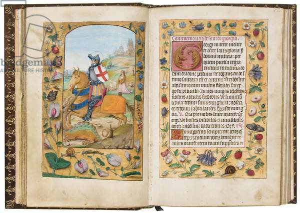 St George, illustration from 'A Book of Hours According to the Use of Sarum, c.1500 (vellum)