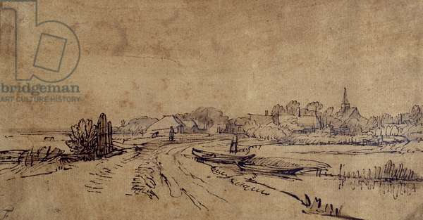 View of Sloten, c.1650 (pen & ink with brown wash on paper)