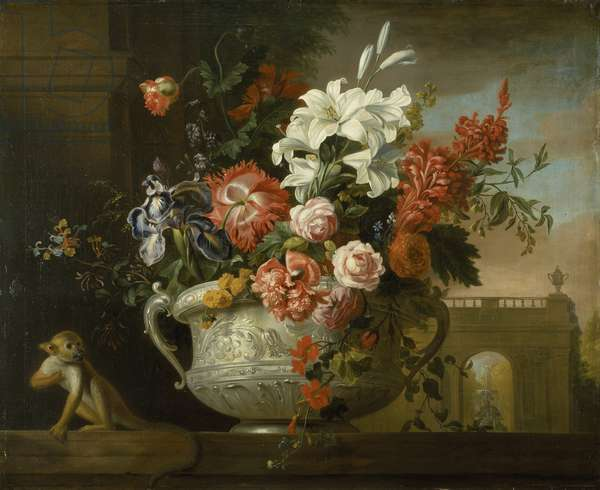 Still life with flowers in an urn, with a monkey, on a ledge, c.1699 (oil on canvas)