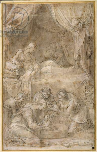 The Birth of the Virgin, after Taddeo Zuccaro (pen & ink on paper)