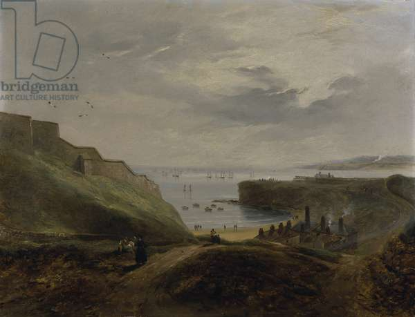 Prior's Haven, Tynemouth - Sunrise, 1845 (oil on millboard)
