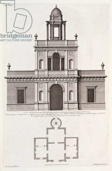 The new 'Bagnio' in the Gardens at Chiswick House, from 'Vitruvius Britannicus or The British Architect' by Colen Campbell (engraving)