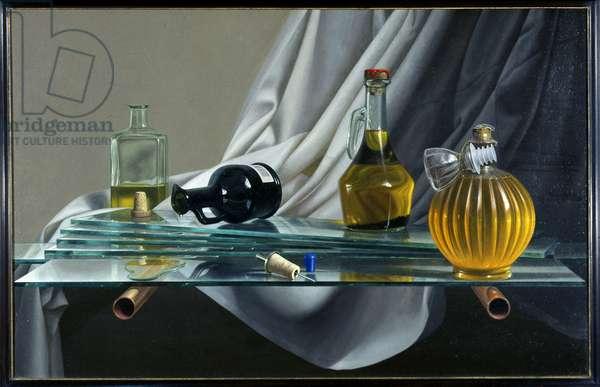 Olive Oil Bottles On A Glass Shelf, 2000 (oil on board)