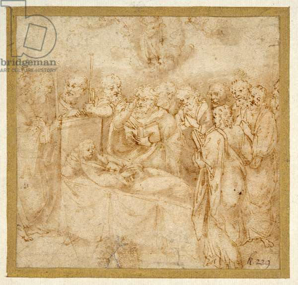 The Dormition of the Virgin (pen & brown ink with brown wash on white paper)