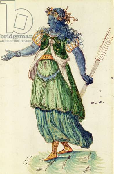 Costume design for the Torchbearer of Oceania from 'The Masque of Blackness' by Ben Johnson (1572-1637), 1605 (pen and ink on paper)