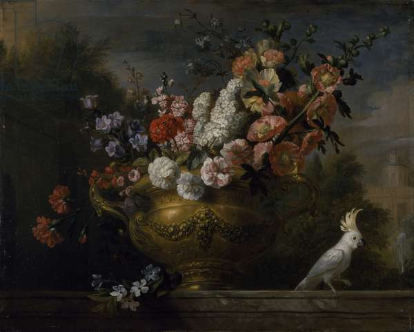 Still life with flowers in an urn, with a cockatoo, on a ledge, c.1699 (oil on canvas)