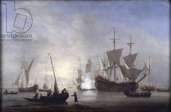 Shipping in a calm, c.1680 (oil on canvas)
