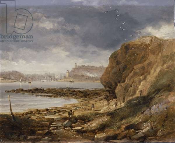 Shields from the harbour mouth, 1845 (oil on millboard)