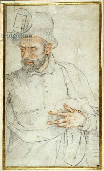 A bearded man, half length, standing dressed for the street (coloured chalks on paper)