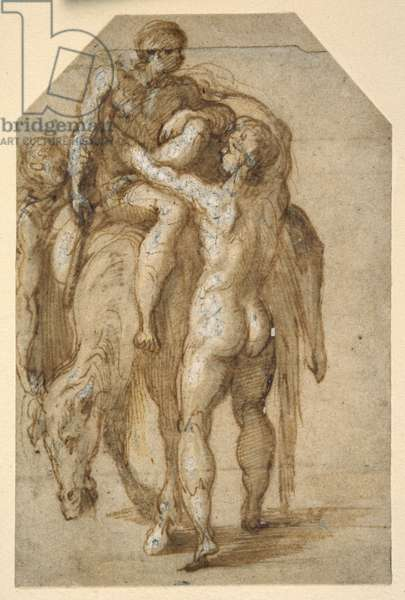Two nude men lifting a sick man from a tired horse (pen & brown ink with brown wash heightened with white body colour on paper)