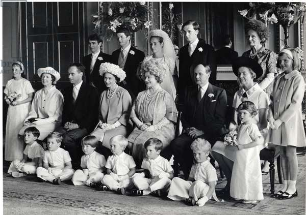 Group wedding photograph of Lord Hartington and Amanda with HM the Queen, and the Queen Mother, 28th June 1967 (b/w photo)