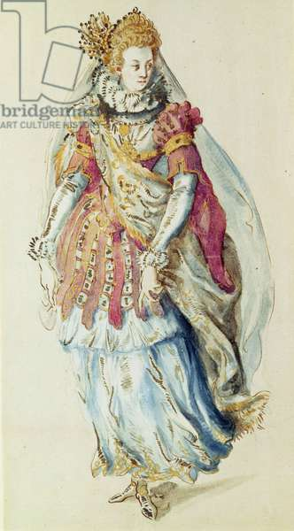 Costume design for a Lady Masquer, 1610 (pen and ink on paper)