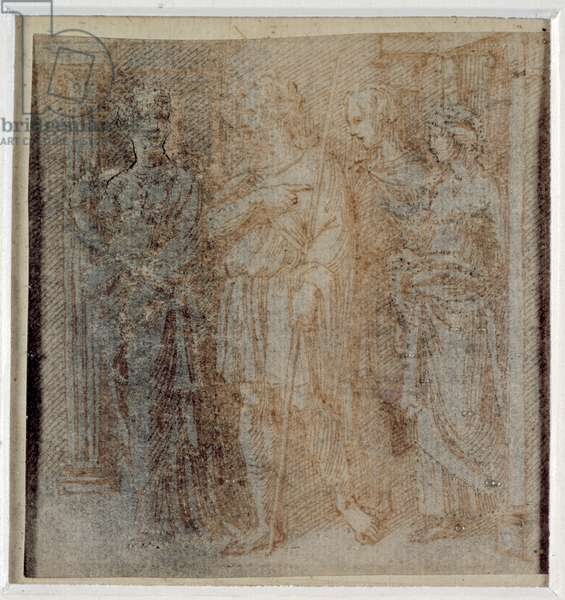 Aeneas escorted by Dido, study for the border scene (3rd compartment left) of the 'Quos ego', 1516 (pen & brown ink on paper) (recto of 3957027)