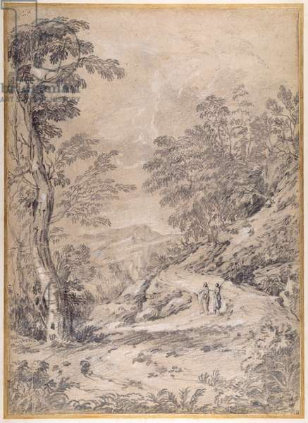 Mountain road winding through woodland and rocks, 1640s (black & white chalk on paper)