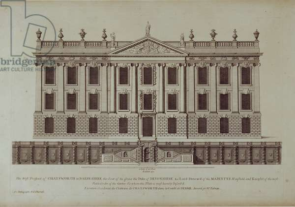 West Front of Chatsworth, from 'Vitruvius Britannicus or The British Architect' by Colen Campbell (engraving)