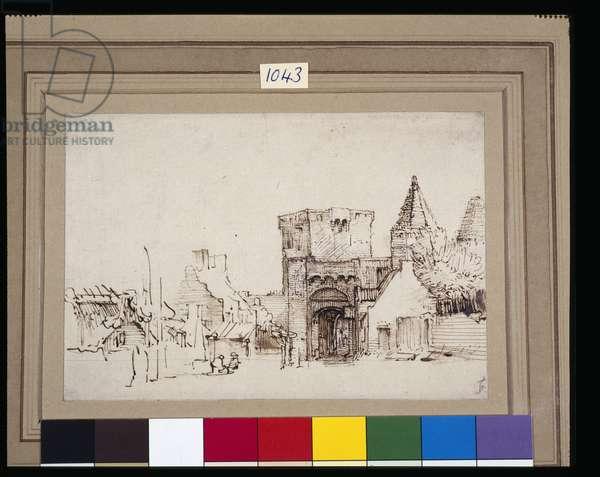 The Rijnpoort at Rhenen in Gelderland, c.1649 (reed pen & ink with wash on paper)