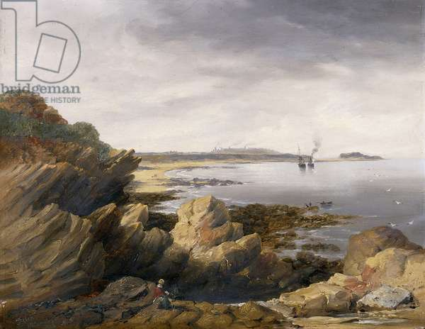 St. Mary's Island from Whitley Rocks, 1845 (oil on millboard)