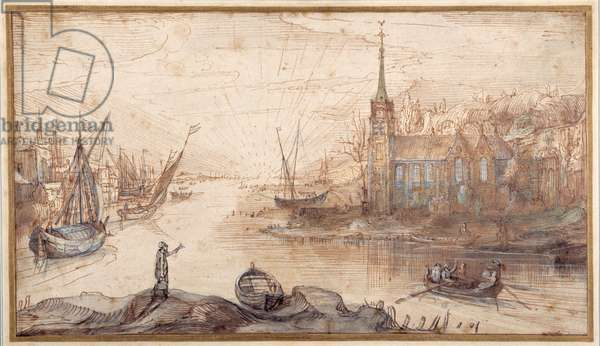 A harbour scene with shipping and a church at sundown (pen & brown ink with brown wash on paper)