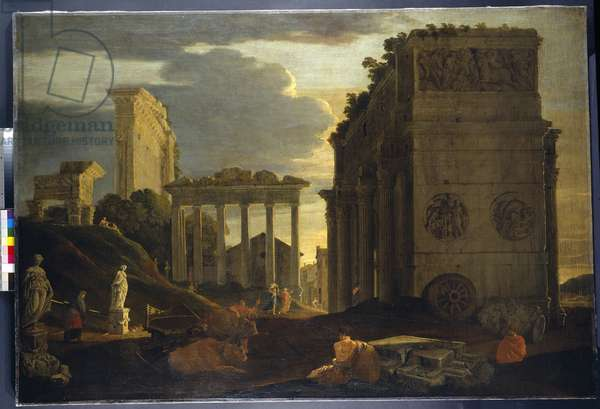 Capriccio view with figures by a triumphal arch and the Temples of Saturn and Jupiter Tonans (oil on canvas)