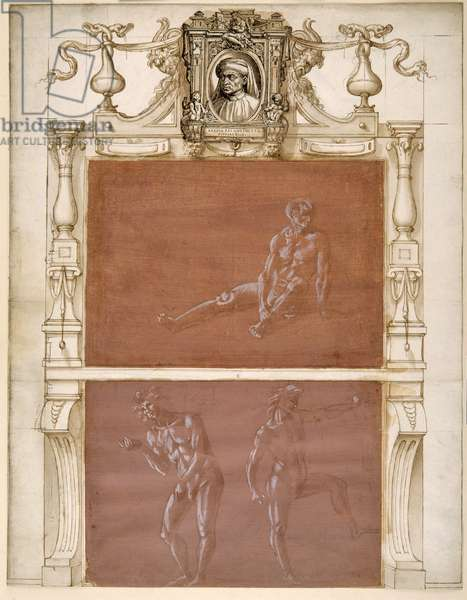 A nude seated man and two male nudes (metalpoint heightened with white body colour on mauve prepared paper)