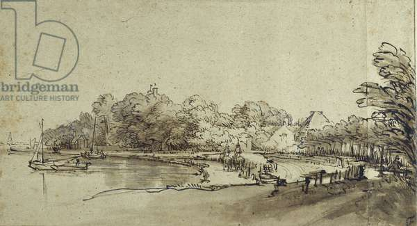 Bend in the Amstel near Kostverloren House, early 1650s (pen & ink with wash & bodycolour on paper)