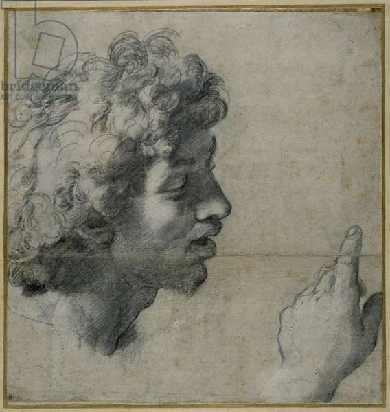 Head and hand study, 1518-20 (pencil on paper)
