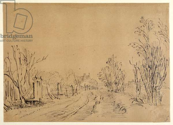 A main road leading to a house through trees (two bridges and gate accesses to the dijk) (pen & ink on brown paper)
