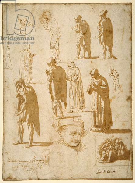 Studies of male figures, nude and draped, including two in monkish garb (pen & brown ink with brown wash on white paper)
