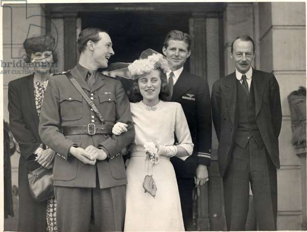 Wedding of Kathleen Kennedy and William Cavendish, 6th May 1944 (b/w photo)
