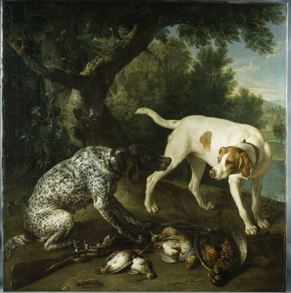 Two pointers belonging to the 3rd Earl of Burlington with dead game in a landscape, 1713 (oil on canvas)