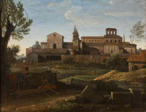 An Italianate Landscape with a view of Saint Giovanni in Laterano, c.1672-75 (oil on canvas)