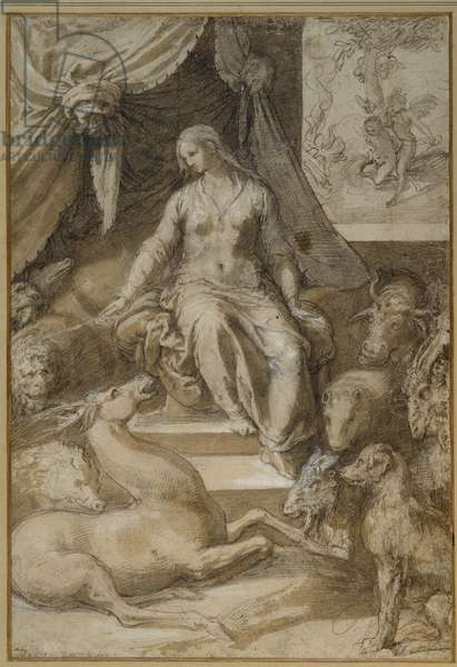 Circe seated, the bewitched Argonauts transmogrified (black chalk with brown wash & white body colour on paper)