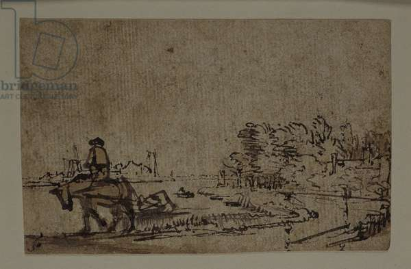 View on the Amstel, with a horse towing a barge, c.1650 (pen & ink with brown wash on paper)