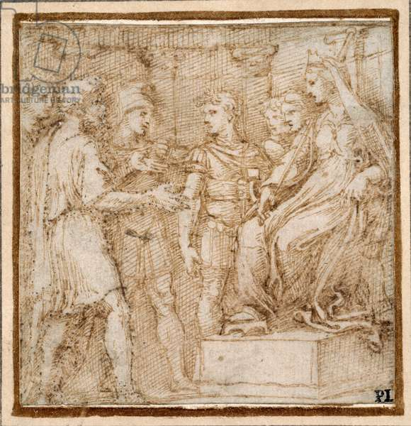 Dido receiving the Trojans in audience, study for a border scene of the 'Quos ego' engraving, 1516 (pen & ink on paper)