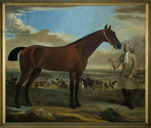 Scarr, a bay racehorse held by his trainer, A. Scottman, 1714 (oil on canvas)