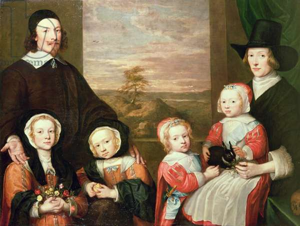 Unidentified family portrait, traditionally thought to be that of Sir Thomas Browne, mid 1640s (oil on canvas)