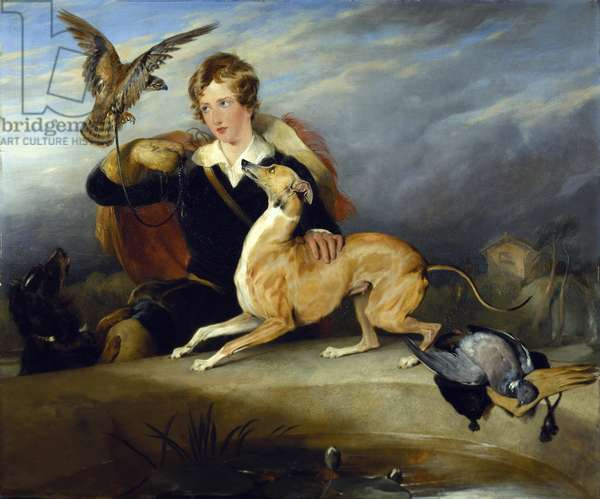 Richard Cavendish with 'Spot', the 6th Duke of Devonshire's Italian greyhound, c.1828 (oil on canvas)