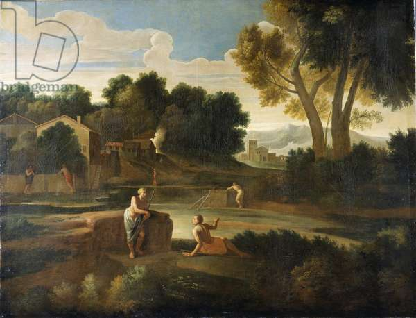 Classical landscape with figures (oil on canvas)