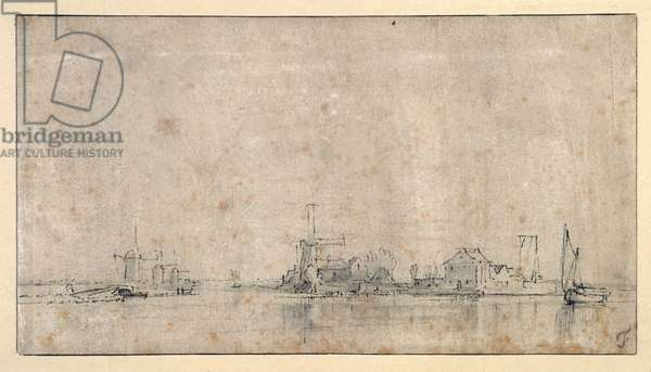 The Amstel at the Omval, c.1650-53 (pen & ink with wash on paper)