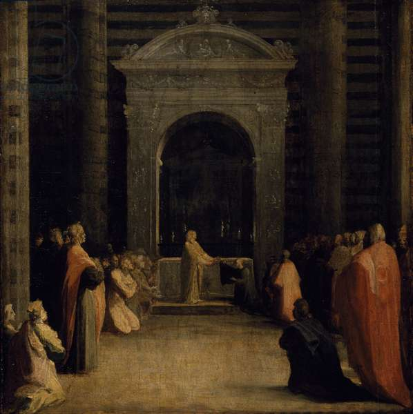 The Offering of the Keys of the City of Siena to the Virgin, on or after 1526 (oil on paper on wood panel)
