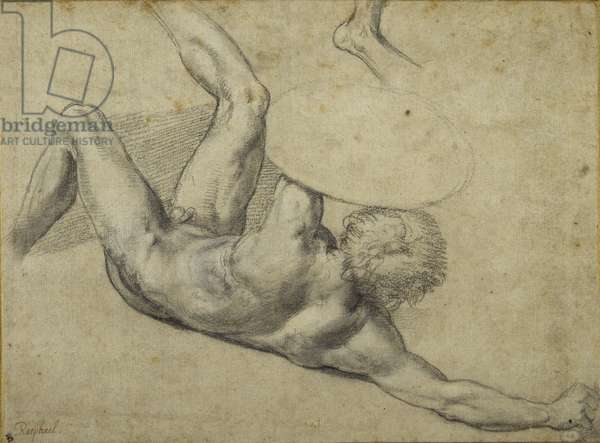 Study for warrior fallen in 'The Battle of Constantine', Sala di Costantino (chalk on paper)