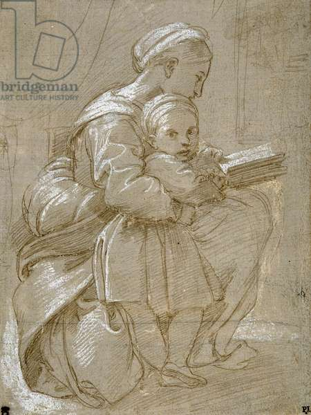 A woman seated on a chair reading, with a child standing by her side (metal-point & white body colour on paper)